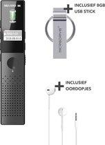 MADINE Voice Recorder Digitaal - Draadloze Dictafoon - Audio Recorder - Opname Apparaat - Memorecorder - USB oplaadbaar - 16GB Opslag - MP3 en WAV ruisonderdrukking - Inclusief oortjes