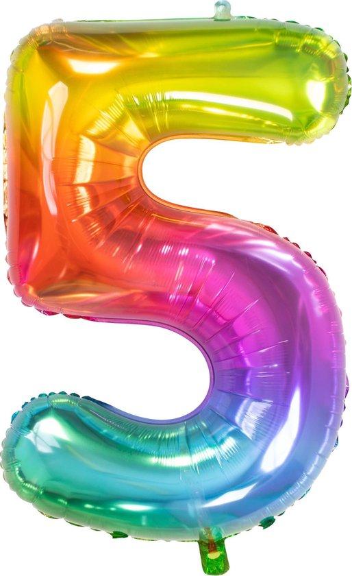 Folie Ballon Cijfer 5 Regenboog XL 81cm leeg