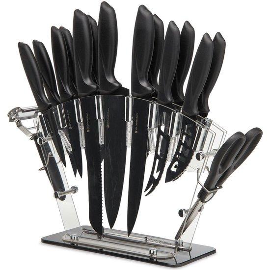 KitchenBrothers Messenset met Blok - 17-Delig - Keukenmessen incl. Koksmes - Messenslijper en Keukenschaar - Anti Kleeflaag - Zwart