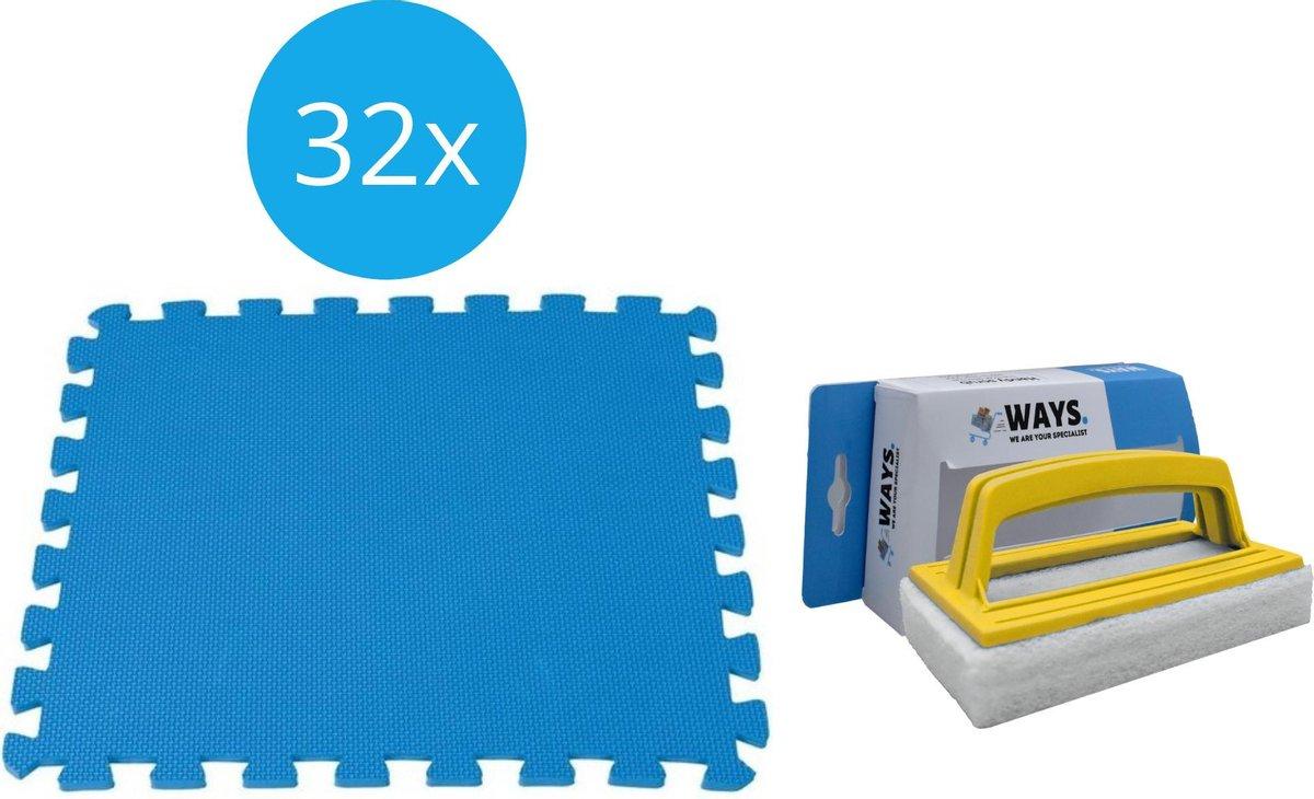 Intex - Voordeelverpakking - Zwembadtegels - 4 verpakkingen van 8 tegels - 8m² & WAYS scrubborstel