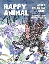 Adult Coloring Book Happy Animal - Mandalas and Henna Inspired