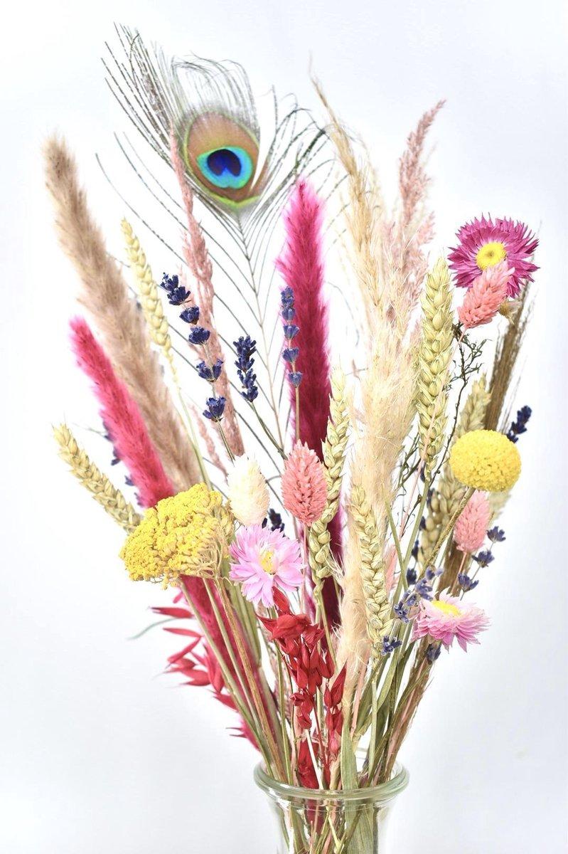Droogbloemen - Happiness - Brievenbus DIY Boeket 30 cm - Natuurlijk Bloemen