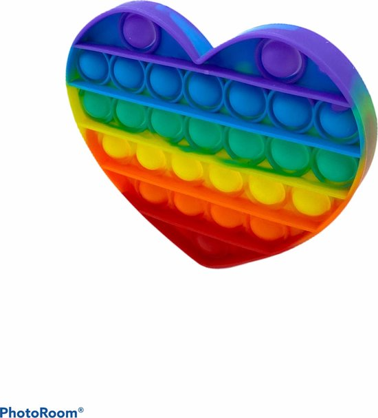 Pop it - hart - fidget toys - regenboog hart - Merkloos