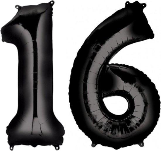 Ballon Cijfer 16 Jaar Zwart 36Cm Verjaardag Feestversiering Met Rietje