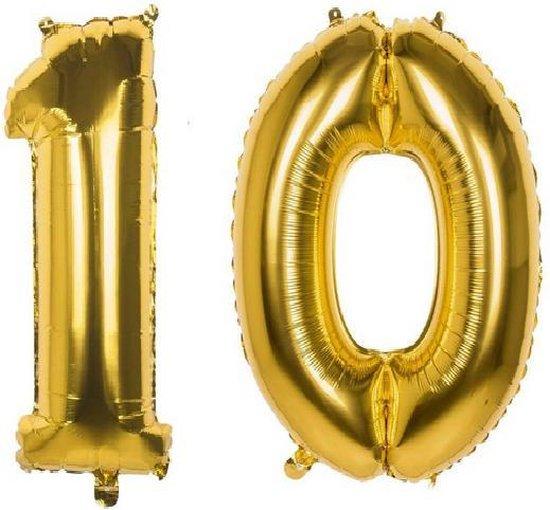 10 Jaar Folie Ballonnen Goud - Happy Birthday - Foil Balloon - Versiering - Verjaardag - Jongen / Meisje - Feest - Inclusief Opblaas Stokje & Clip - XL - 82 cm