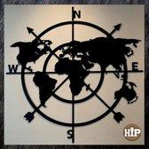 Hip-Wonen.nl - Kompas Ø 60 cm - Wanddecoratie Metaal Zwart - Metalen wereldkaart Wandpaneel - vaderdag cadeau tip