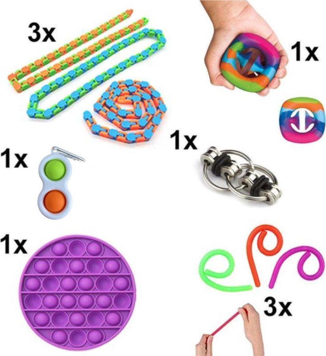 Fidget Toys Pakket - Set met 10 verschillende Fidget Toys: Wacky Tracks, Simple Dimple, Pop It Fidget, Flippy Chain, Monkey N...