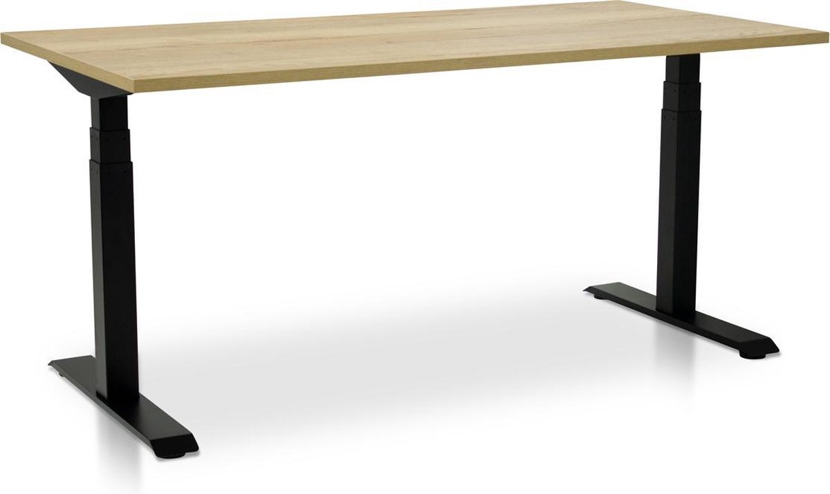Zit-sta bureau elektrisch verstelbaar - MRC PRO-L | 180 x 80 cm | frame zwart - blad robuust eiken - met kabelmanagement | memory functie met 4 standen | 150kg draagvermogen