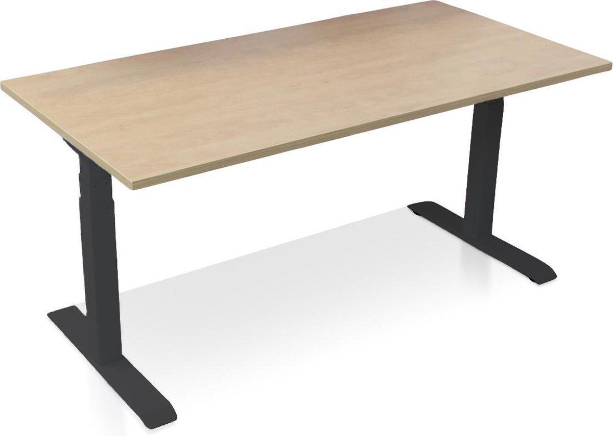Zit-sta bureau elektrisch verstelbaar - MRC PRO-L | 160 x 80 cm | frame zwart - blad wild peren - met kabelmanagement | memory functie met 4 standen | 150kg draagvermogen