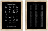 Alfabet en tafels oefenen │2 Posters │Schrijfletters │zwart wit │kinderkamer decoratie │29,7x42 cm (A3)