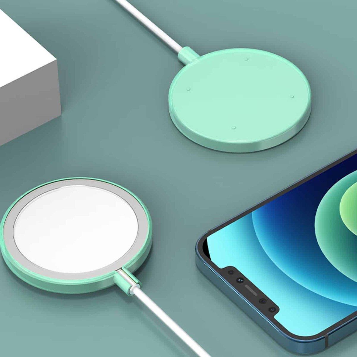 Schokbestendige siliconen + TPU beschermhoes voor iPhone 12 Pro Max MagSafe draadloze oplader (hemelsblauw)