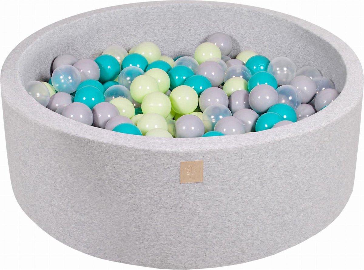 Ronde Ballenbak set incl 200 ballen 90x30cm - Licht grijs: Turquoise, licht groen en transparant
