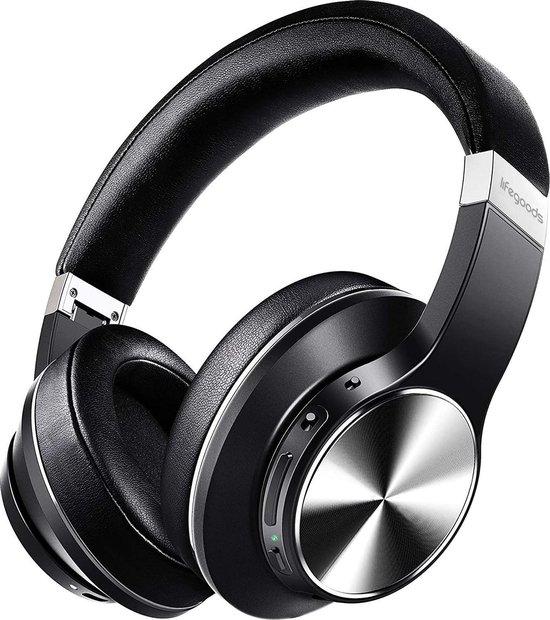 LifeGoods QuietSound Bluetooth Headphone - Draadloze Over-Ear Koptelefoon - Active Noise Cancelling - Microfoon - Incl. Carry Case, USB Draad & Aux Kabel - Zwart