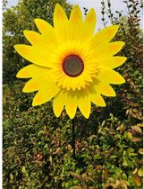 BrenLux - Windmolen 2 stuks – Zonnebloem GEEL windmolen –Windmolen 72 cm hoog x 29 cm - Windmolen tuin - Tuindecoratie - Windmolen op staander - Tuininrichting – Vrolijke windmolen – Tuindecoratie