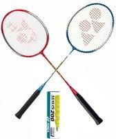 Yonex recreatieve badmintonset - 2 GR-020 badmintonrackets met 6 Mavis 200 outdoor shuttles
