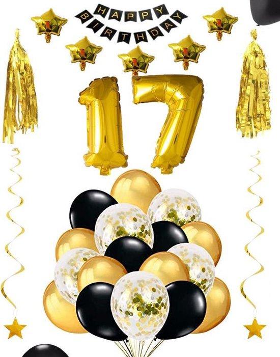 17 jaar verjaardag feest pakket Versiering Ballonnen voor feest 17 jaar. Ballonnen slingers sterren opblaasbare cijfers 17