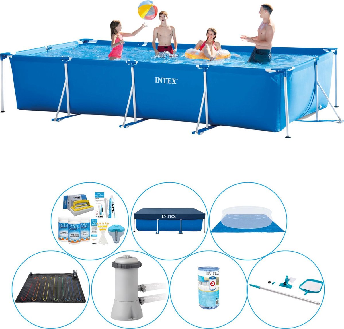 Zwembad Set - Intex Frame Pool Rechthoekig 450x220x84 cm