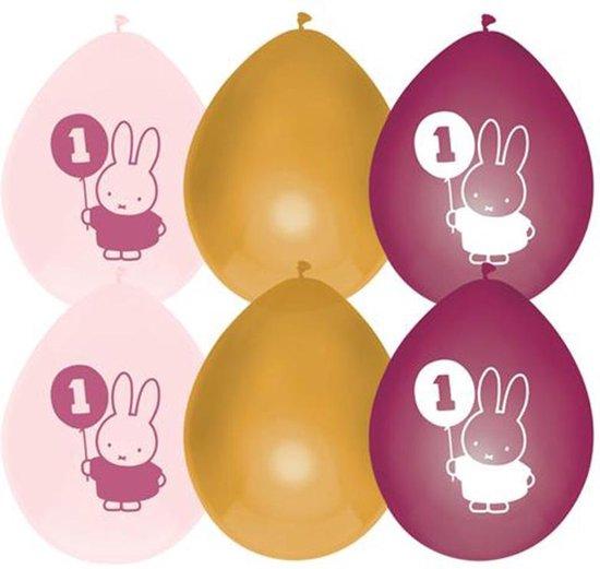 Haza Original Ballonnen Nijntje Eerste Verjaardag Roze 6 Stuks