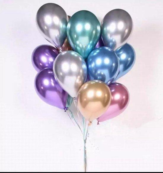 LOHECO® Latex Luxe Ballonnen 25 stuks Chrome Metallic met Gratis Ballonslinger Lint