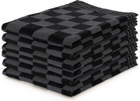 Keukendoekset Blok Zwart - 50x50 - Set van 6 - Geblokt - Blokdoeken - 100% katoen - Horeca Keukendoeken