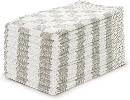 Theedoekenset Blok Zand - 65x65 - Set van 10 - Geblokt - Blokdoeken - 100% katoen - Horeca Theedoeken