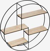 wandplank - wandrek - industrieel - rond - 55cm - zwart - hout - 4 laags