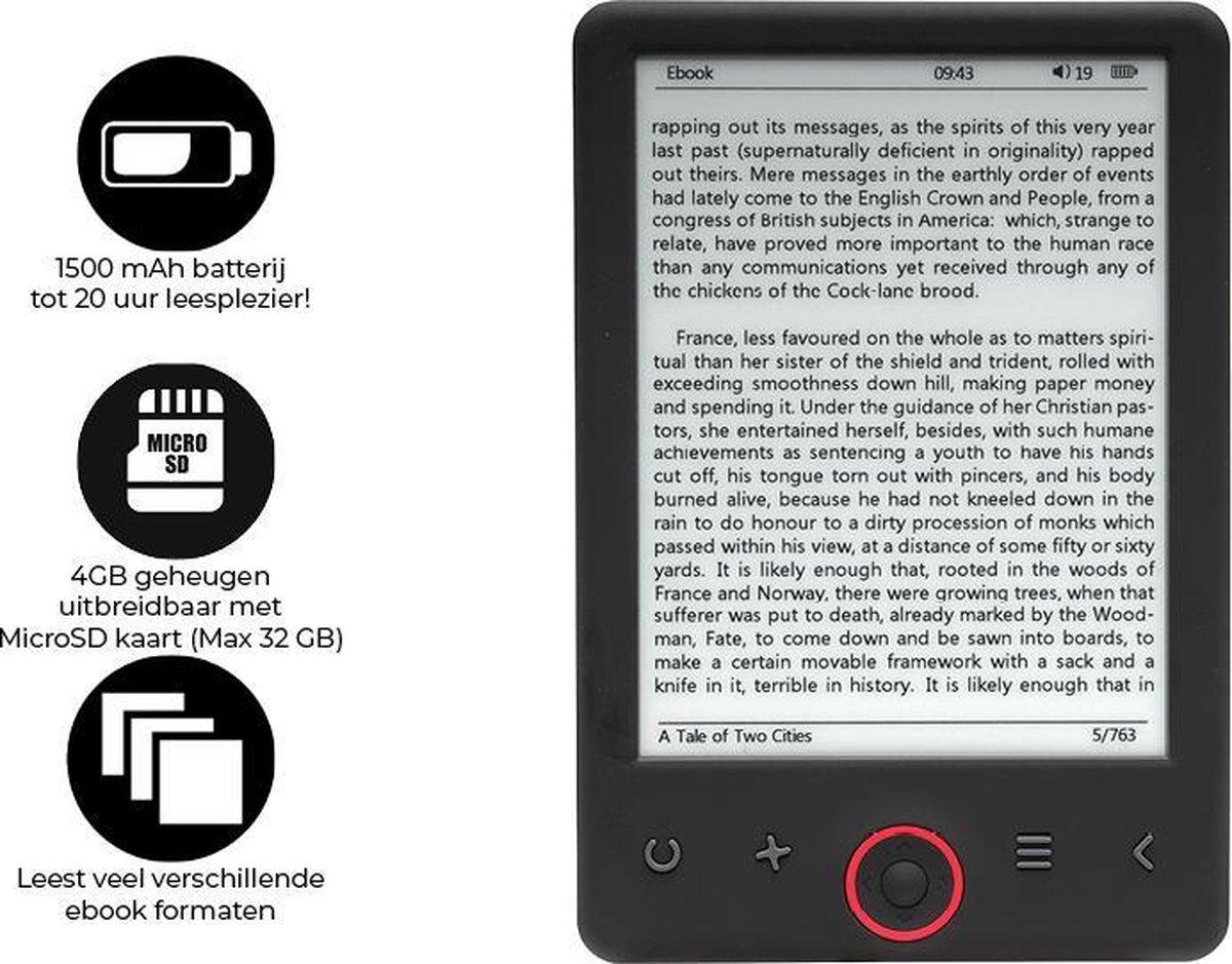 """""""Denver EBO-620 Ebook reader / E reader / E books Nederlandstalig / 4GB + MicroSD up to 32GB / 6"""""""" E"""