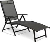 MaxxGarden Aluminium silver ligbed – voor tuin en zwembad – ligbed met verstelbare rug – 150x64x85 cm - zwart