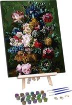 Rubye® Schilderen Op Nummer Volwassenen – Bloemen in Vaas – Met Frame en Schildersezel – 40x50 cm