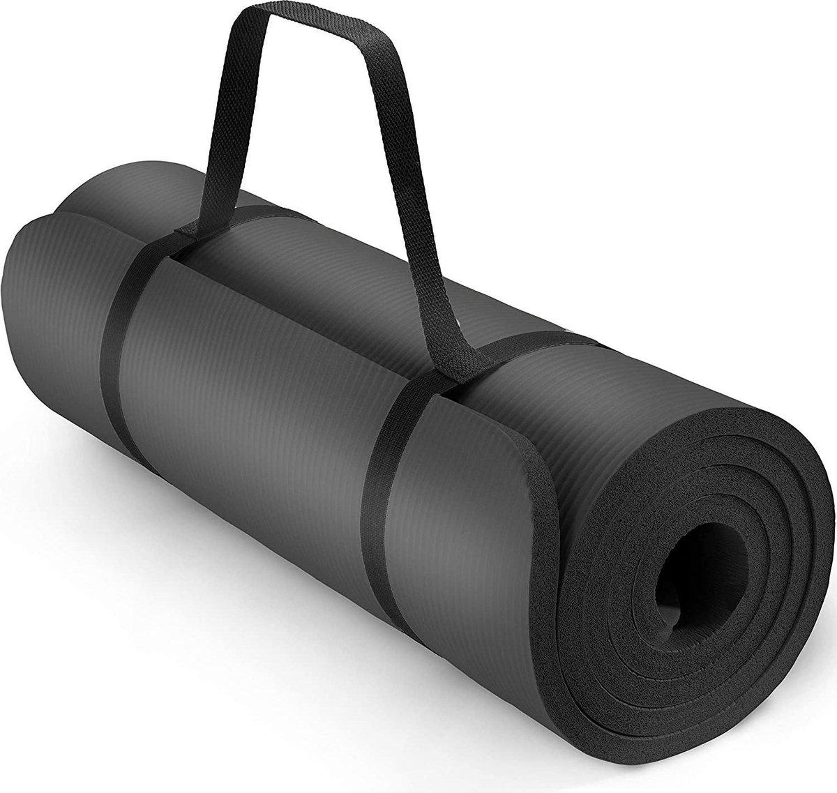 Yoga mat zwart 1 cm dik, fitnessmat, pilates, aerobics