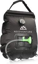 Needventure Solar Douche - Camping Douchezak - Buiten Douche - Inclusief Thermometer - Met Douchekop - 20L - Zwart