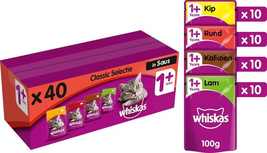 Whiskas 1+ Adult Voordeelpak Maaltijdzakjes - Vlees in Saus - Kattenvoer - 40 x 100 g