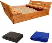 AFSLUITBARE zandbak met  banken incl. dekzeil+ gronddoek  - GEIMPREGNEERD hout