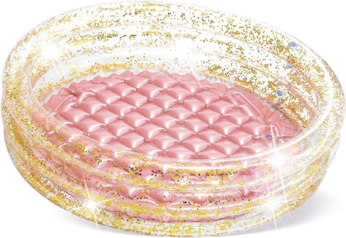 Intex opblaaszwembad glitter roze/goud - 86x25cm - vinyl - kinderzwembad - zomer - collectie 2021 - new collection - glitters - babyzwembad - peuterbadje - vakantie - strand - baby - dreumes - peuter - kleuter - kids - opblaasbaar zwembad