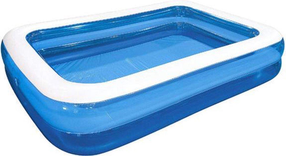 Opblaasbaar Zwembad Rechthoekig Blauw - 200x150x50 Kinderbad - Familie bad - Zwemparadijs - opblaas zwembad in tuin - met leegloop ventiel