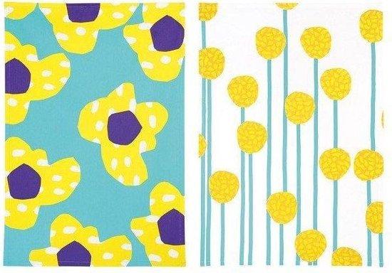&Klevering - Theedoek - Flower- Groen - Set van 2