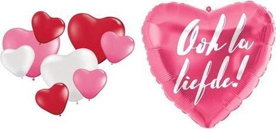 Ooh La Liefde set !   Hartjes   Ballonnen   Liefde   Trouwen   Valentijn   Jubileum   Rood   Wit   Roze   Versiering set   Decoratie   Feestje