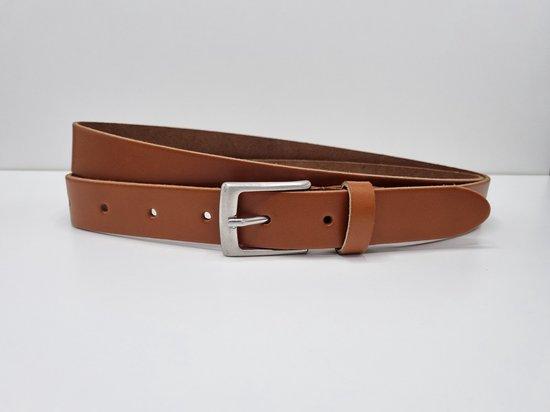 Lederen riem 3 cm breed – Zilver gesp – Leren Broekriem – Pantalon breedte – 110 cm Egaal leer – kleur Cognac / Licht bruin