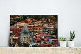 Kleurrijke huizen in het oude stadsdeel van Tbilisi in Georgië Canvas 30x20 cm - klein - Foto print op Canvas schilderij (Wanddecoratie woonkamer / slaapkamer)