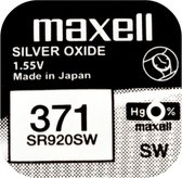 Maxell 371 / SR920SW zilveroxide knoopcel horlogebatterij 2 (twee) stuks