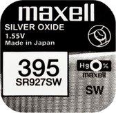 MAXELL 395 / SR927SW zilveroxide knoopcel horlogebatterij 2 (twee) stuks