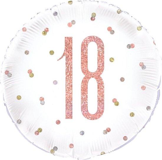 UNIQUE - Glitter roze en witte 18 aluminium ballon - Decoratie > Ballonnen