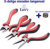 Tangenset - Hobbytangen- Om Sieraden Te Maken- 3 Delig - Inclusief Jump Ring Opener- Met Fijne Grip - Lovv®