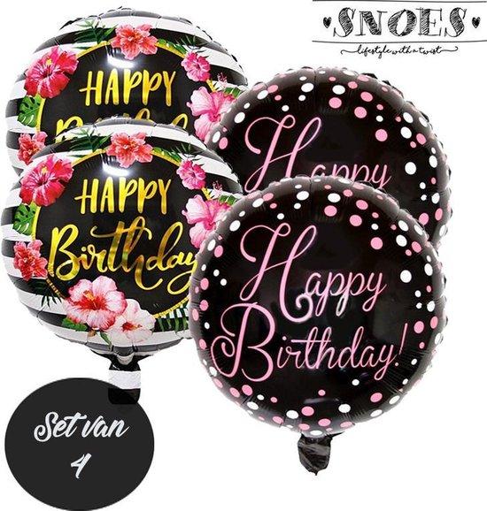 Happy Birthday * Set van 4 Ballonnen * Tropisch * Hawai * Black & Gold * Pink* Verjaardag ballon set * Gelukkige verjaardag * Gefeliciteerd