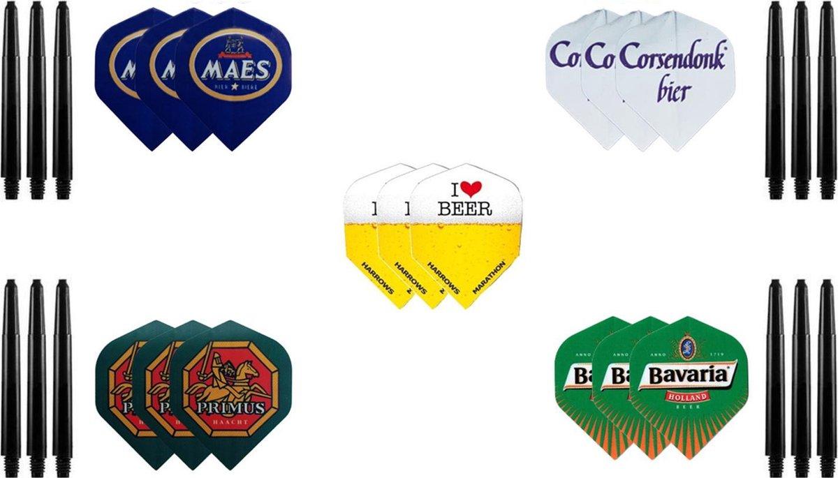 Dragon darts - 5 sets (15 stuks) - bierpakket - darts flights - incl. 4 sets (12 stuks) - darts shafts