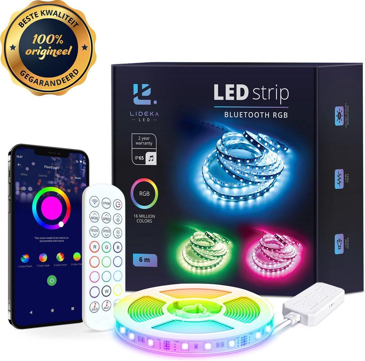 Lideka®️ Smart LED strip 5+1 of 10+2  meter met Afstandsbediening - Led Light Strip - RGB Licht stri