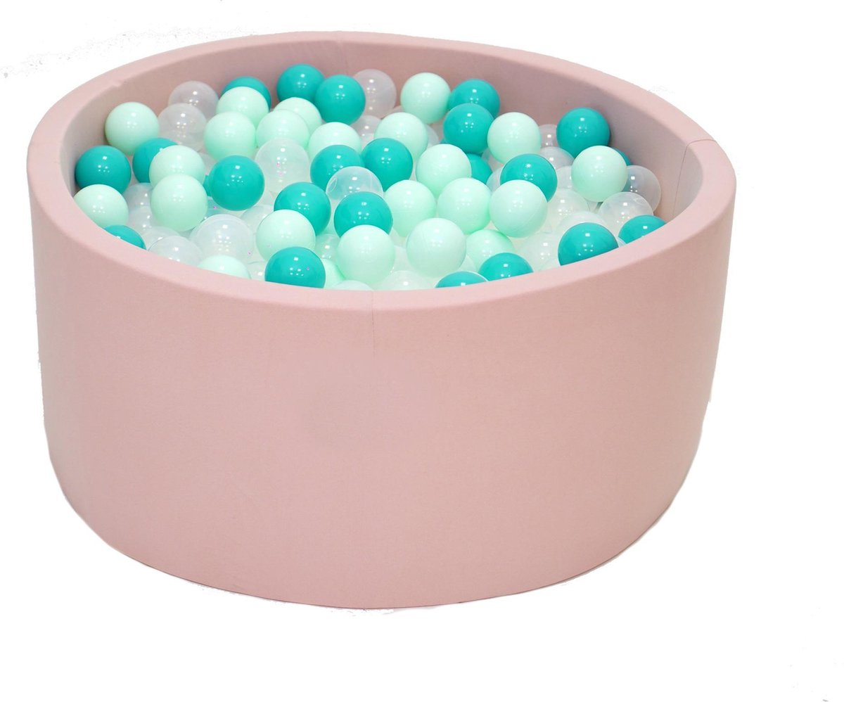 Ballenbak Roze 90x40 met 250 ballen Munt, Turquoise, Transparant