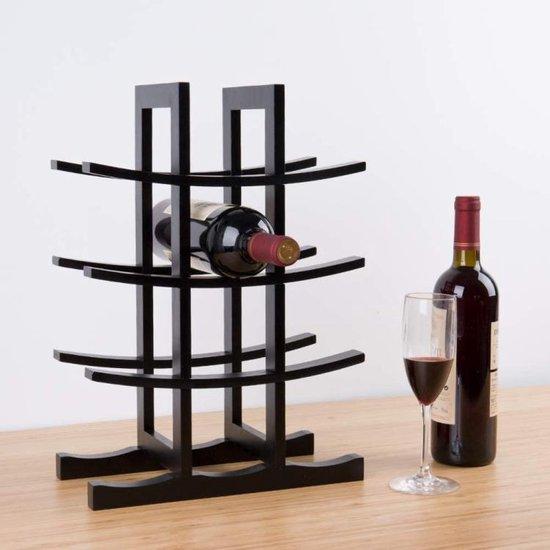 Q-Living Wijnrek - Wijnrek Design - Flessenrek - Wijnfleshouder - Wijnflessenrek - Zwart Bamboe - 12 Flessen