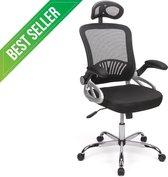 Luxe Ergonomische Bureaustoel - Verstelbare Hoofdsteun - Mesh - Zwart - Comfort Foam