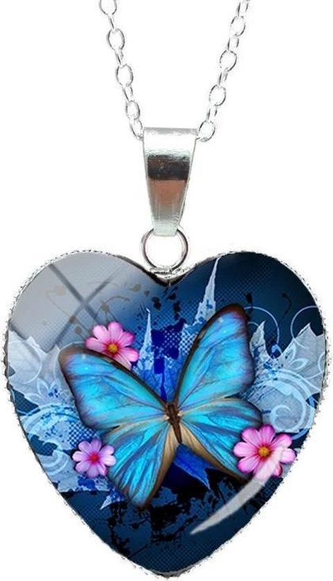 Verzilverde Bedel Vlinder | Bedel Hanger | Ketting Blauw / bloem roze.| Hart Sierraad| vriendinnen | dames | cadeau| direct snel leverbaar| Bol